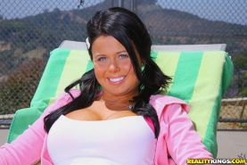 Delightsome teen Loni Evans strips off pink underwear and shows hooters