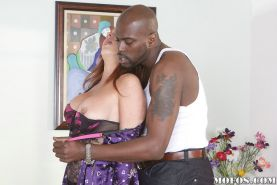 Slutty mature lady Raquel D. gets her twat shoved by a big black shaft