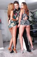 Hot ass gals Isis Taylor & Allie Haze sharing a big meaty pole