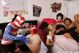 Cosplay dorm party turns to intense lesbian tribbing on a dare