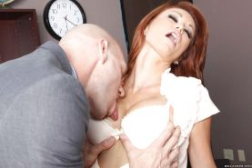 MILF babe with big juggs Monique Alexander gives a titjob and has sex