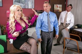 Clothed bitch Kagney Linn Karter fucked hard in her office