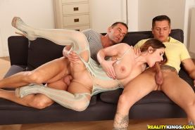 European milf Cathy gets double penetrated in this groupsex