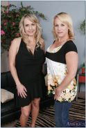 Blonde mature gal Wanda Lust stripping and kissing with her female friend