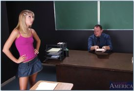 Sexy college teen Chastity Lynn fucked doggystyle on the teacher table