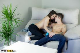Italian amateur Valentina Bianco slipping out of jeans while giving blowjob