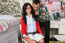 Madelyn Monroe wears glasses to enjoy blowjob and hardcore ass fucking
