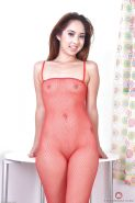 Asian amateur Mila Jade showing off hanging mud flaps beneath mesh bodysuit