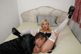 Babe in sexy stockings Donna Bell has her lovely ass rampaged