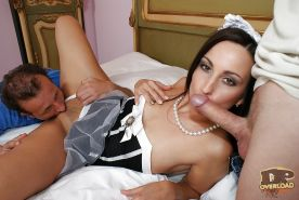 Pretty brunette maid Simone has a wonderful double penetration