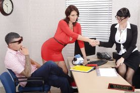 Office threesome fucking with sexy milfs Charlee Chase and Eva Karera