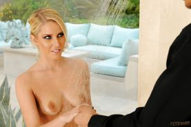 Svelte blonde Vanessa Cage gets her toes licked and gives a footjob