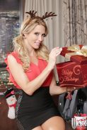 Pornstar babe Jessica Drake shows off in her awesome Christmas outfit