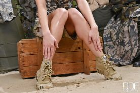 Sexy milf Sophie Lynx in hot camo uniform and her trimmed pussy