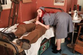 Redhead babe in nurse uniform Jasmine James sucks and fucks a big cock