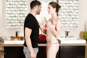 Nude housewife Molly Jane undressing her man to give him a blowjob