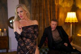 Blonde pornstar Rebecca More fucking Peter Oh Tool in sheer bodystocking