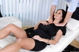 Big boobed MILF Ava Addams spreads cunt for big cock pounding
