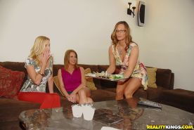 Three horny MILFs starting hot lesbian action with toys and scissoring