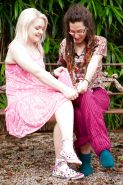 Naughty girls Fleur D and Jade S tongue kissing and tribbing outdoors