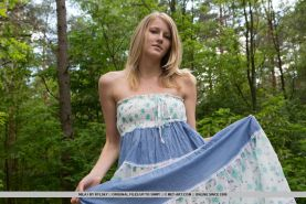 Leggy blonde babe Mila I unveiling tiny teen tits outdoors for glamour pics