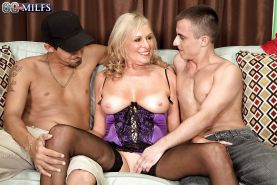 Busty granny Bethany James fucking 2 younger men with jizz facial finale