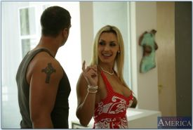 Busty MILF Tanya Tate stripping at the pole and gets her cunt fucked