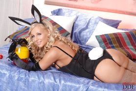 Lusty bunny babe in stockings Barbie Night toying her shaved slit