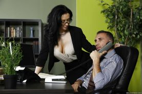 Milf brunette with big tits Jayden Jaymes has sex in the office