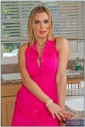 Big busted MILF in stockings Tanya Tate stripping in the kitchen