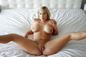 Busty blonde MILF parting pink pussy for big cock penetration