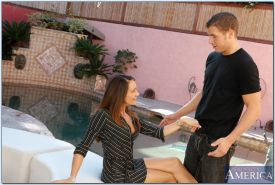 Tempting MILF with tiny tits Michelle Lay getting laid at the pool
