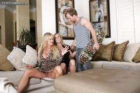 Busty mature Brandi Love has her pussy fucked hard in a threesome