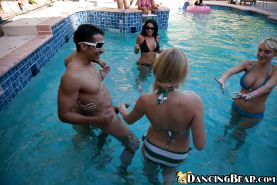 Horny babes in bikini sucking big cocks at the pool sex party