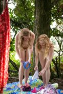 Amateur girls Laney and Nichole go lesbian for pay in the woods