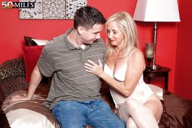 Mature blonde in white corset and stockings Connie McCoy screwed doggy style
