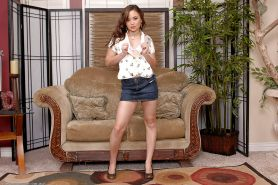 Tiny Asian amateur Kita Zen exposing tiny tits on casting couch #50041692