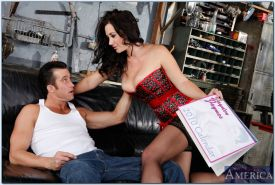 Sultry brunette in lingerie and stockings Jayden Jaymes banged hardcore