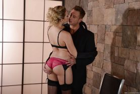 Glamorous girl in stockings Mia Malkova gets banged hard and facialized