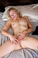 Blonde MILF Mary Jane toying hairy pussy with dildo while masturbating