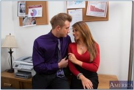 Busty slut Madison Ivy gets fucked and facialized by her office mate