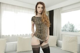 Sexy solo girl Misha Cross flaunts nice ass in stockings and thong panties