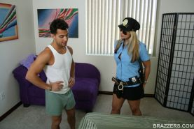 Sexy police officer Sarah Vandella has sex in uniform with a big cock