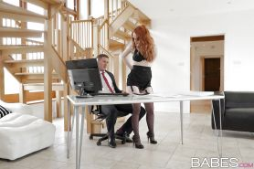 Redhead Euro secretary Ella Hughes fucking coworker in black stockings