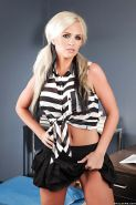 Full-bosomed blondie Alena Croft undressing and caressing herself