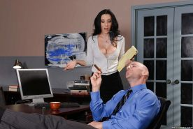 Big boobed office worker Jayden Jaymes whips out tits to seduce co-worker