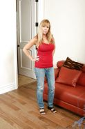 Sexy mature blonde Nicole Moore with big tits, takes off her tight jeans