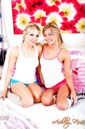 Lesbian pornstars Aaliyah Love and Ashley Fires undress for humping