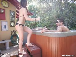 Outdoor sex at the pool features a wonderful girlfriend Lily Carter