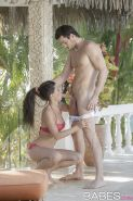 Wet brunette Alexa Tomas sucking and fucking big dick outdoors for cumshot